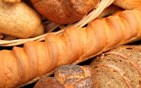 Картинка корзина, мак, хлеб, багет, выпечка, ломти
