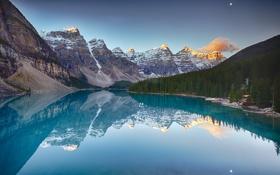 Картинка лес, небо, деревья, горы, озеро, скалы, Канада