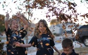 Обои осень, листья, радость, дети, фон, обои, улица