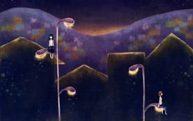 Картинка ночь, фантазия, девушки, звёзды, фонари