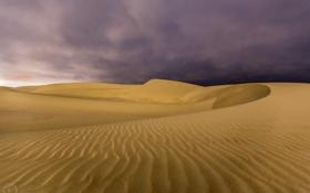 Обои природа, пасмурно, пустыня, тучи, дюны