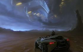 Картинка скалы, планета, автомобиль, Арт, посадка, космический корабль