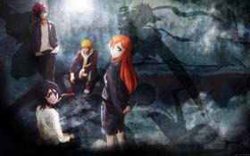 Картинка арт, герои, bleach, kurosaki ichigo, персонажи, блич, rukia kuchiki