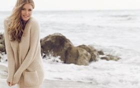 Картинка песок, волны, пляж, улыбка, океан, модель, Doutzen Kroes
