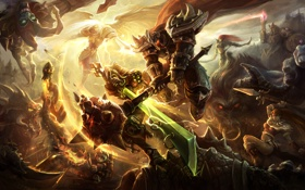 Картинка league of legends, maces, magic, creatures, battlefield, swords