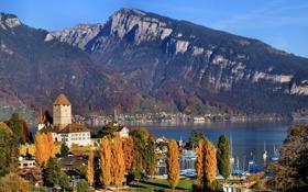 Картинка пейзаж, горы, озеро, берег, дома, лодки, Швейцария