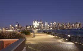 Обои city, город, USA, Manhattan and Jersey