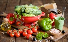 Обои масло, сыр, перец, овощи, помидоры, огурцы, маслины