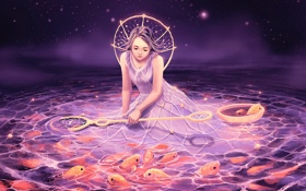 Обои рыбки, ночь, звёзды, арт, девочка