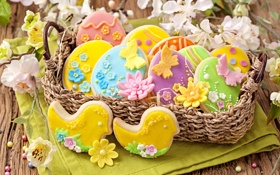 Обои весна, colorful, печенье, пасха, flowers, sweet, глазурь