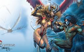 Обои противостояние, бой, комикс, darkness, comix, angelus