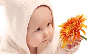 Обои Дети, Цветы, Настроение