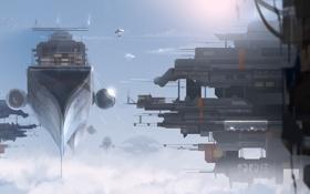 Обои облака, высота, корабли, арт, в небе