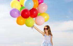 Обои шарики, радость, счастье, воздушные шары, colorful, девочка, girl