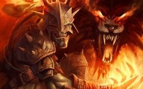 Обои огонь, монстр, властелин колец, шлем, орк, lord of the rings, Guardians of Middle-earth