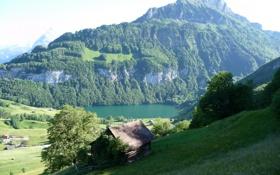 Картинка небо, трава, деревья, пейзаж, горы, природа, озеро