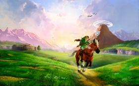 Обои zelda, долина, конь
