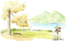 Картинка трава, вода, горы, природа, река, камни, дерево