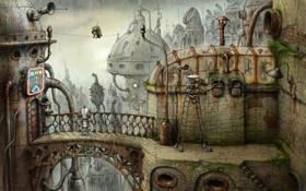 Обои мост, город, птица, механизм, робот, попугай, Machinarium