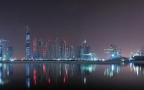 Картинка вода, свет, ночь, город, отражение, здания, небоскрёбы