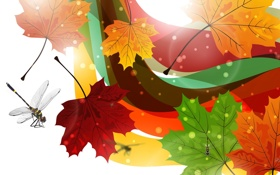 Картинка осень, листья, коллаж, вектор, стрекоза