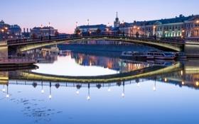 Картинка река, Luzhkov bridge, набережная, фонари, Москва, вода, огни