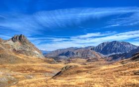 Картинка камни, долина, гряда, горизонт, небо, облака, вершины
