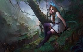 Обои девушка, горы, глаз, дерево, скалы, магия, арт