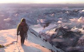 Картинка снег, горы, человек, far cry 4