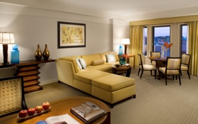 Обои дизайн, желтый, яблоки, стулья, столик, комната, стиль
