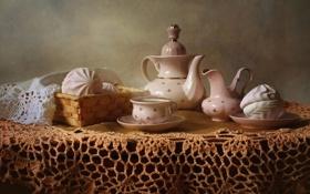 Картинка чай, посуда, скатерть, сервиз, зефир