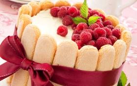 Картинка ленточка, крем, бант, малина, ягоды, печенье, сладкое