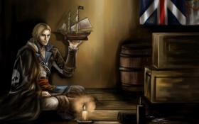 Картинка свеча, флаг, ящики, бочки, assassin, Edward, Black Flag