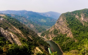 Обои лес, горы, река, Индия, плотина, ущелье, вид сверху