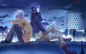 Обои облака, ночь, город, огни, дома, аниме, парни