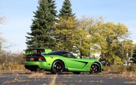 Обои небо, green, зелёный, Dodge, Viper, додж, вайпер