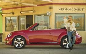 Обои девушка, красный, фон, окна, заправка, Volkswagen, Жук