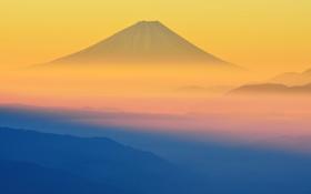 Обои небо, закат, туман, Япония, гора Фудзияма