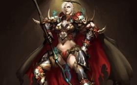 Картинка девушка, череп, фэнтези, арт, броня, плащ