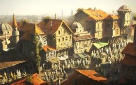 Картинка город, люди, дома, базар, константинополь, Assassin's Creed: Revelations, истамбул