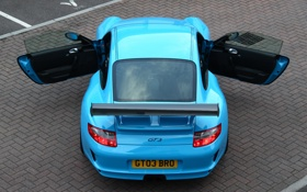 Обои голубой, купе, Porsche, суперкар, порше, GT3