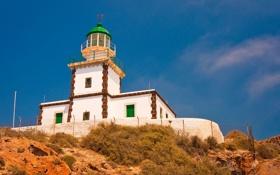 Обои маяк, Санторини, Греция, Santorini, Акротири, Greec, Akrotiri