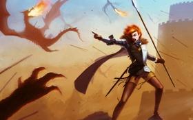 Картинка девушка, замок, огонь, рука, драконы, арт, копье