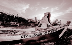 Обои девушка, лодка, азиатка