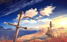 Обои море, небо, люди, меч, даль