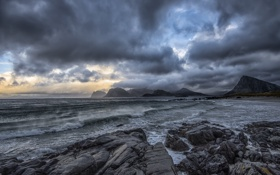 Обои norway, coast, arctic, wave, lofoten, cloud