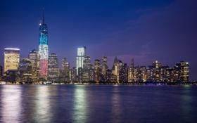 Обои Нью-Йорк, ночной город, Манхэттен, Manhattan, New York City, East River, пролив Ист-Ривер