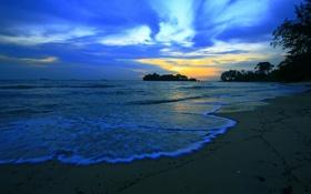 Обои небо, облака, берег, вечер, отлив