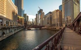 Картинка город, река, небоскребы, утро, Чикаго, США, мосты