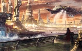 Картинка город, река, мегаполис, будущие, Ondan City